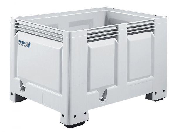 Groß-Stapelbehälter BIG BOX mit 4 Füßen, Inhalt 360L, Wände und Boden geschlossen, Farbe: grau, B120