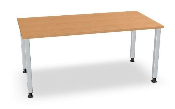 Schreibtisch, Quadratbeine alufarbig, Serie dataline-QS