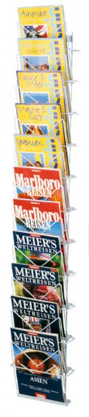 Zeitschriften-Wandmagazin, 11 Fächer DIN A4, aus Draht alufarbig, B260xH1400mm
