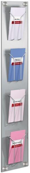 Prospekt-Wandmagazin artline, 4 Fächer DIN lang, Stahlblech, B180xT65xH1020mm