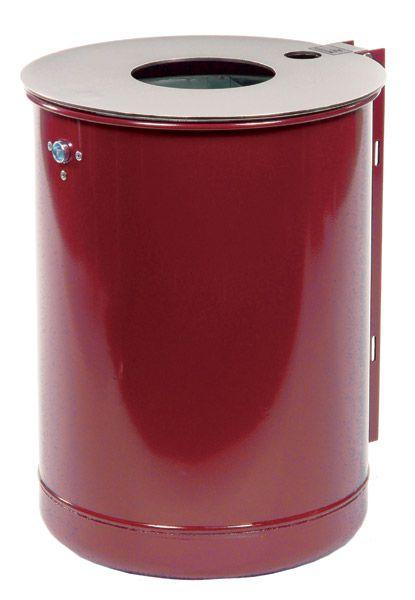 Stahlblech-Abfallbehälter mit Deckelscheibe mit Ascher, mit U-Profilschiene