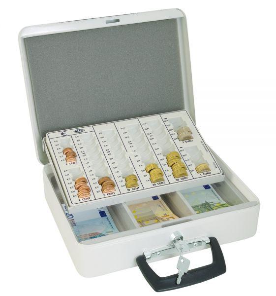 Geldkassette Typ 2, mit Hebeautomatik und Sicherheitsschloss, weiß, 315x245x95mm