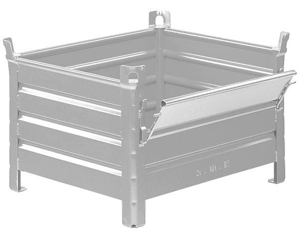 Stahlblech-Stapelbehälter mit Klappe 1200x800x600mm