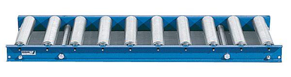 Leicht-Rollenbahn mit Stahlrollen, 600mm breit, 75er Teilung