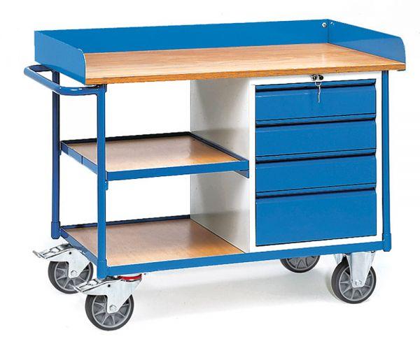 Werkstattwagen mit 1 Schubladenschrank und Abrollrand