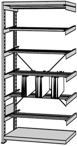 Büro-Regal Serie S25-STB mit Pendelschienen