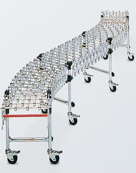 Scheren-Röllchenbahn, 400mm Breite, ausziehbar, Stahlröllchen