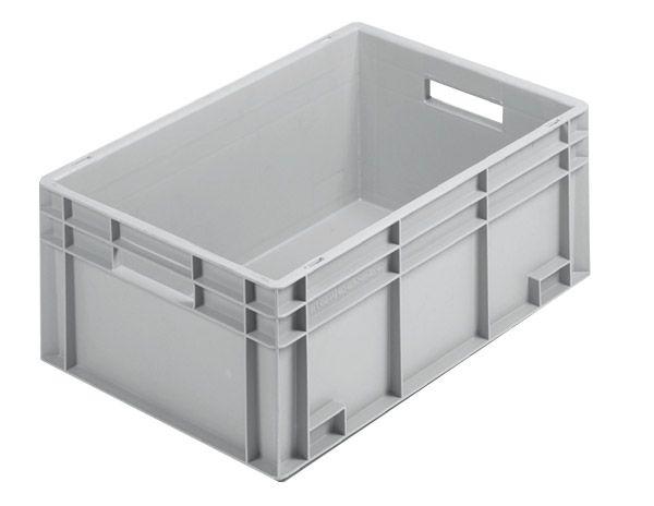 Stapelkasten, 600x400x236mm, 50 Liter, Farbe: grau, Wände und Boden geschlossen, Serie Norm 1