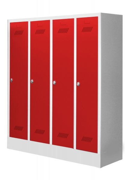 Garderobenschrank für Schulen, 4 Abteile, mit Sockel und Drehriegel