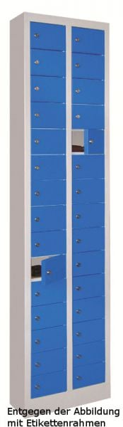 Kleinfach-Schrank 30 Fächer Türen mit Etikettenrahmen