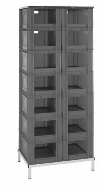 Stapelkasten-Regal, mit 14 Stapelkästen Typ 5, blau, 815x607x1960mm
