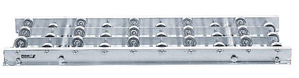 Röllchenbahn mit Stahlröllchen, 450mm breit, 100er Teilung, Rahmen aus Aluminium