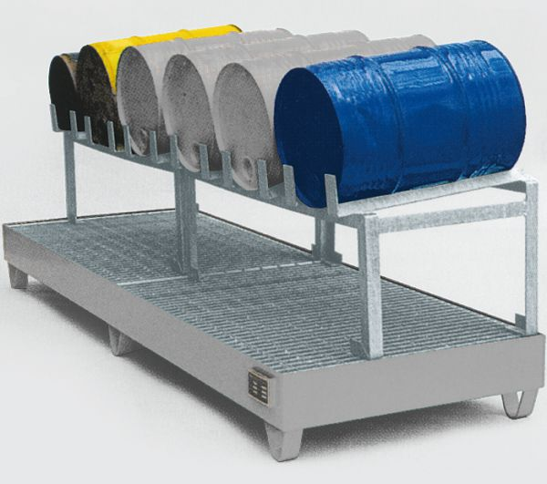 Abfüllstation Typ 3, verzinkt, 2400x800x725mm, mit Fassauflage für 6 x 60-Liter-Fässer, mit 5° Neigu