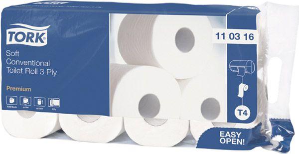 Pack = 8 Toilettenpapierkleinrollen, 3-lagig Tissue Premium Premium, Kern-Ø 42mm