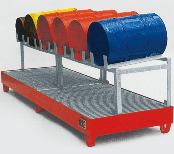 Abfüllstation Typ 3, rot RAL 3000, 2400x800x725mm, mit Fassauflage für 6 x 60-Liter-Fässer, mit 5° N