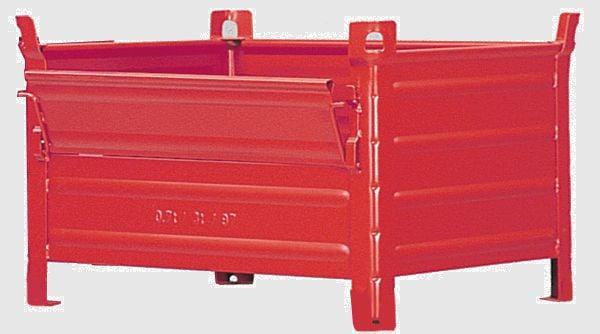 Stapelbehälter mit Kranösen und Klappe, 1200x800x600mm