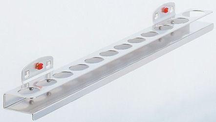 Nusshalter für 12 Nüsse, 9x › 25mm, je 1 x › 27,32,35mm, B 390 x T 45 x H 30mm