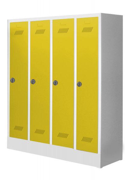 Garderobenschrank für Schulen, 4 Abteile, mit Sockel und Zylinderschloss