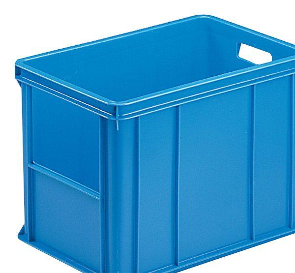 Stapelkasten Typ 3, mit Ausschnitt, Wände und Boden geschlossen, blau, 590x385x405mm, Inhalt 80 L ite