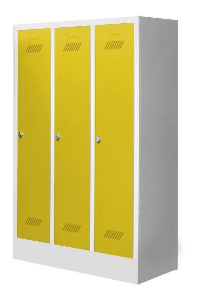 Garderobenschrank für Schulen, 3 Abteile, mit Sockel und Drehriegel