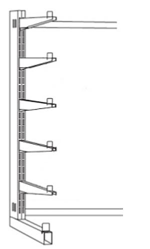 Kragarm-Stahlregal einseitig, Serie S-KL