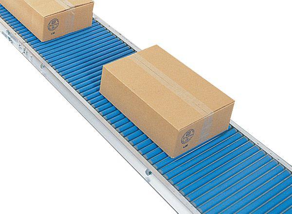 Klein-Rollenbahn mit Kunststoffrollen, 500mm breit, 25er Teilung