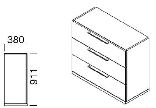 Schubladenschrank mit Griffen für Modul-Wandsystem, Collection Multiwa