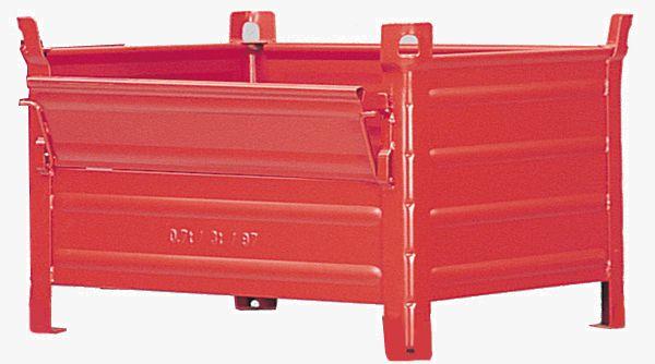 Stapelbehälter mit Kranösen und Klappe, 1200x1000x600mm, blau RAL 5010