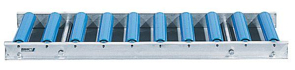 Leicht-Alu-Rollenbahn mit Kunststoffrollen, 600mm breit, 100er Teilung