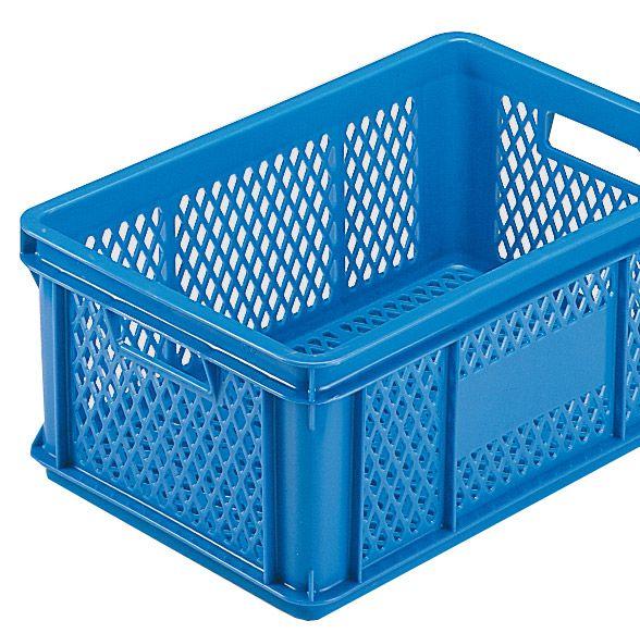 Stapelkasten Typ 1, Gitterwände, Gitterboden, blau, 590x385x325mm, Inhalt 60 Liter