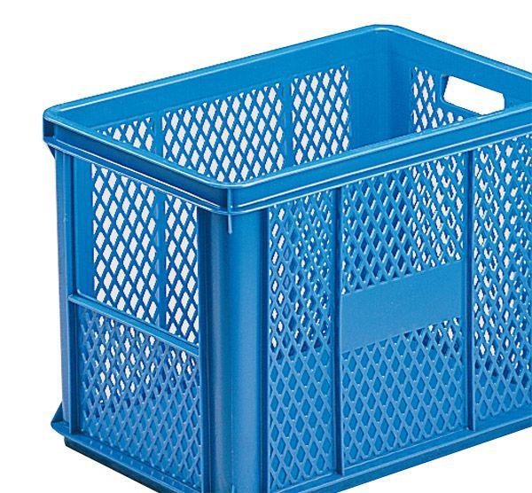 Stapelkasten Typ 2, mit Ausschnitt, Gitterwände, Boden geschlossen, blau, 590x385x325, Inhalt 60 Litr