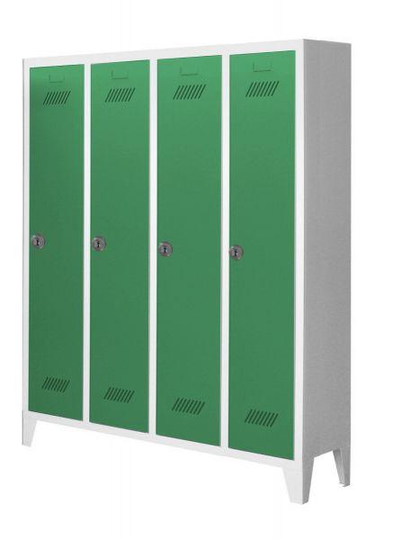 Garderobenschrank für Kindergärten, 4 Abteile, mit Füßen und Zylinderschloss