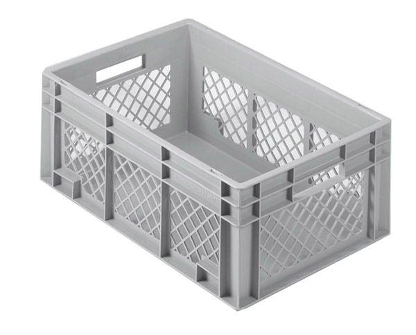 Stapelkasten, 400x300x220mm, 20 Liter, Farbe: grau, Gitterwände / Boden geschlossen, Serie Norm 1