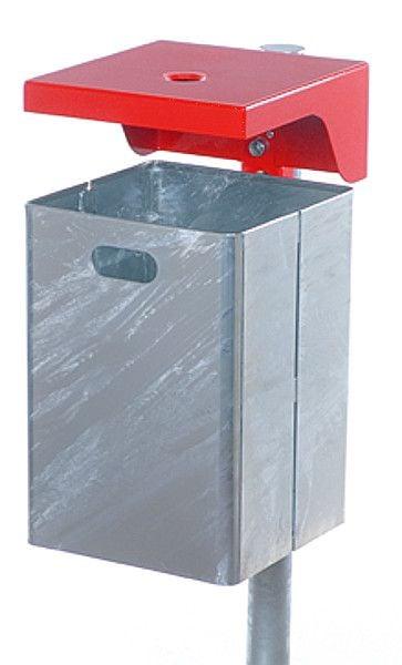 Stahlblech-Abfallbehälter mit Wetterschutzhaube mit Ascher