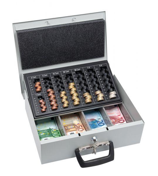 Geldkassette Typ 3, mit Hebeautomatik, lichtgrau, 355x275x100mm