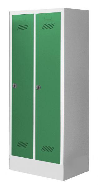 Garderobenschrank für Schulen, 2 Abteile, mit Sockel und Zylinderschloss