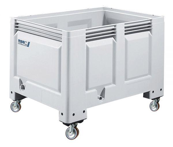 Groß-Stapelbehälter BIG BOX mit 4 Füßen, Inhalt 535L, Wände und Boden geschlossen, Farbe: grau, B120