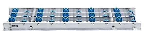 Alu-Röllchenbahn mit Kunststoffröllchen, 300mm breit, 75er Teilung