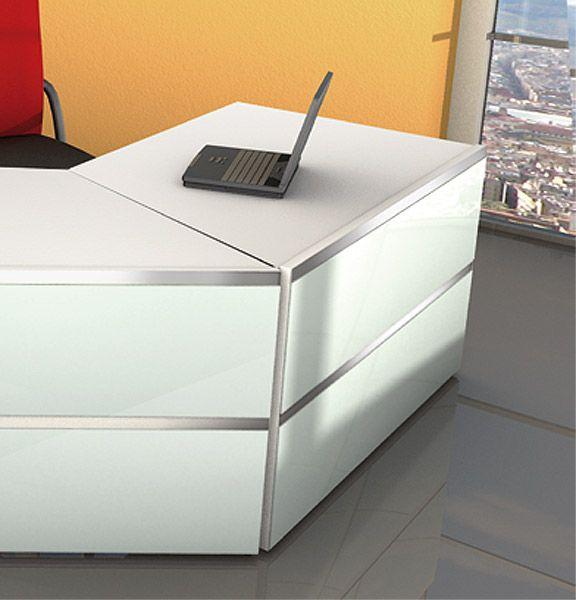 Tisch Typ E, einseitig schräg, weiß/Glas/alufarbig, B1350xT800xH750mm, Serie Atlantis