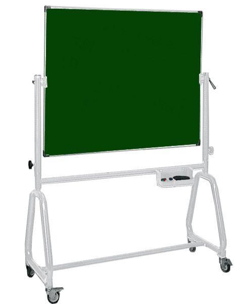 Kombi-Drehtafel, fahrbar, Schreibfläche Stahlemaille grün