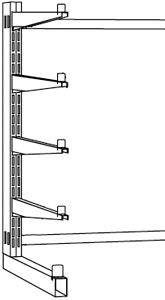 Kragarm-Regal, Serie B-KL einseitig