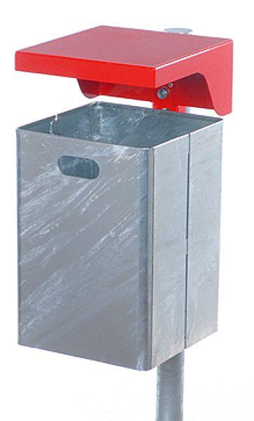 Stahlblech-Abfallbehälter mit Wetterschutzhaube ohne Ascher