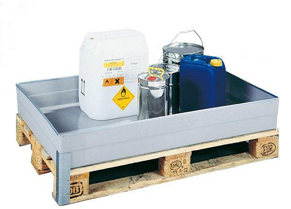 GFK-Auffangwanne für wassergefährdende Stoffe, 150 Liter Inhalt, 1200x800x165mm