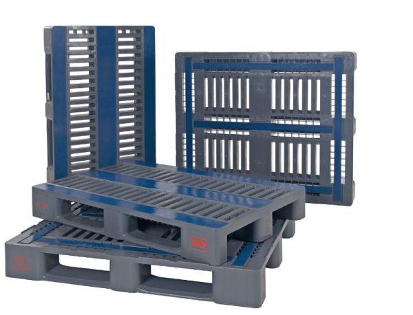 CR3-Kunststoff-Palette, 5 Kufen, mit Außenarretierung, grau, Tragkraft 1500 kg, B1200xT1000xH160mm,