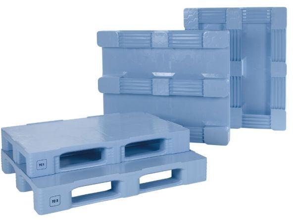 TC1-Kunststoff-Palette mit Außenarretierung, 3 Kufen, grau, Tragkraft 1500 kg
