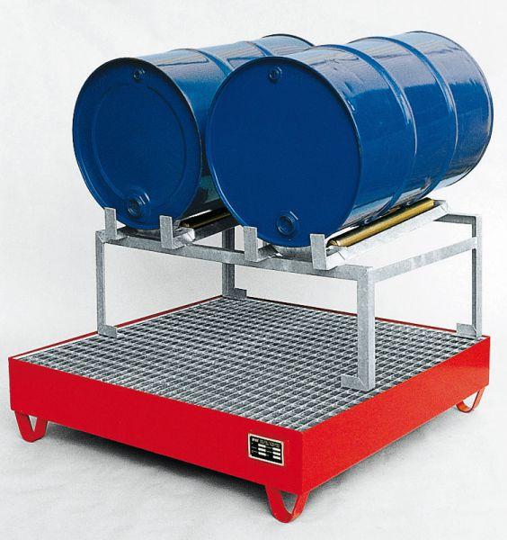 Abfüllstation Typ 1, rot RAL 3000, 1200x1200x760mm, mit Fassauflage für 2 x 200-Liter-Fässer, mit 5°