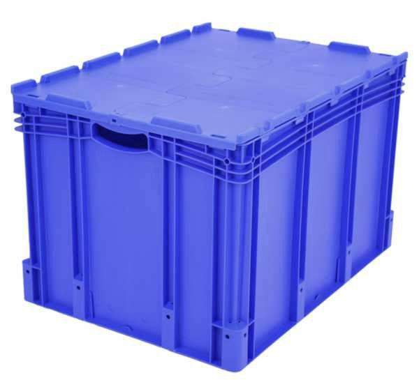Euro-Stapelbehälter XL, 212 l, mit Standardboden und Klappdeckel, bis 60 kg belastbar, 600x800x538mm