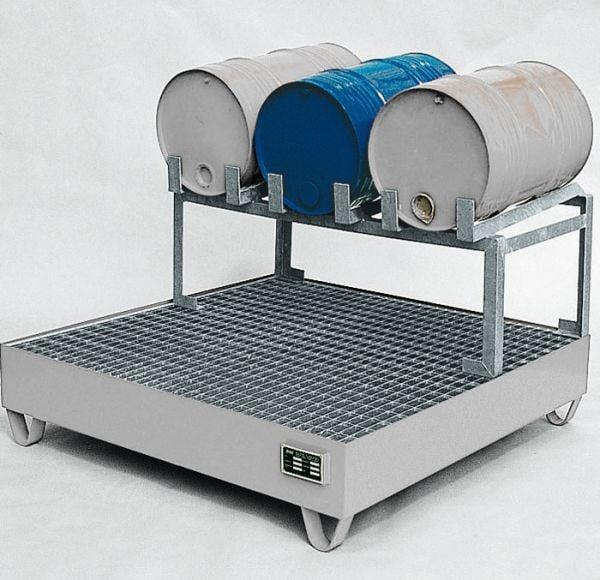 Abfüllstation Typ 2, verzinkt, 1200x1200x760mm, mit Fassauflage für 3 x 60-Liter-Fässer, mit 5° Neig