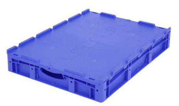 Euro-Stapelbehälter XL, 44 l, mit Standardboden und Klappdeckel, bis 60 kg belastbar, 600x800x138mm