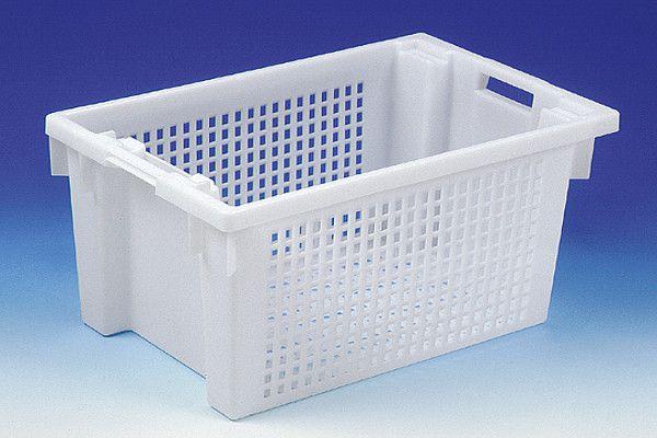 Dreh-Stapelbehälter aus HDPE, Farbe: grau, B600xT400xH300mm, 50L, Boden und Seiten durchbrochen